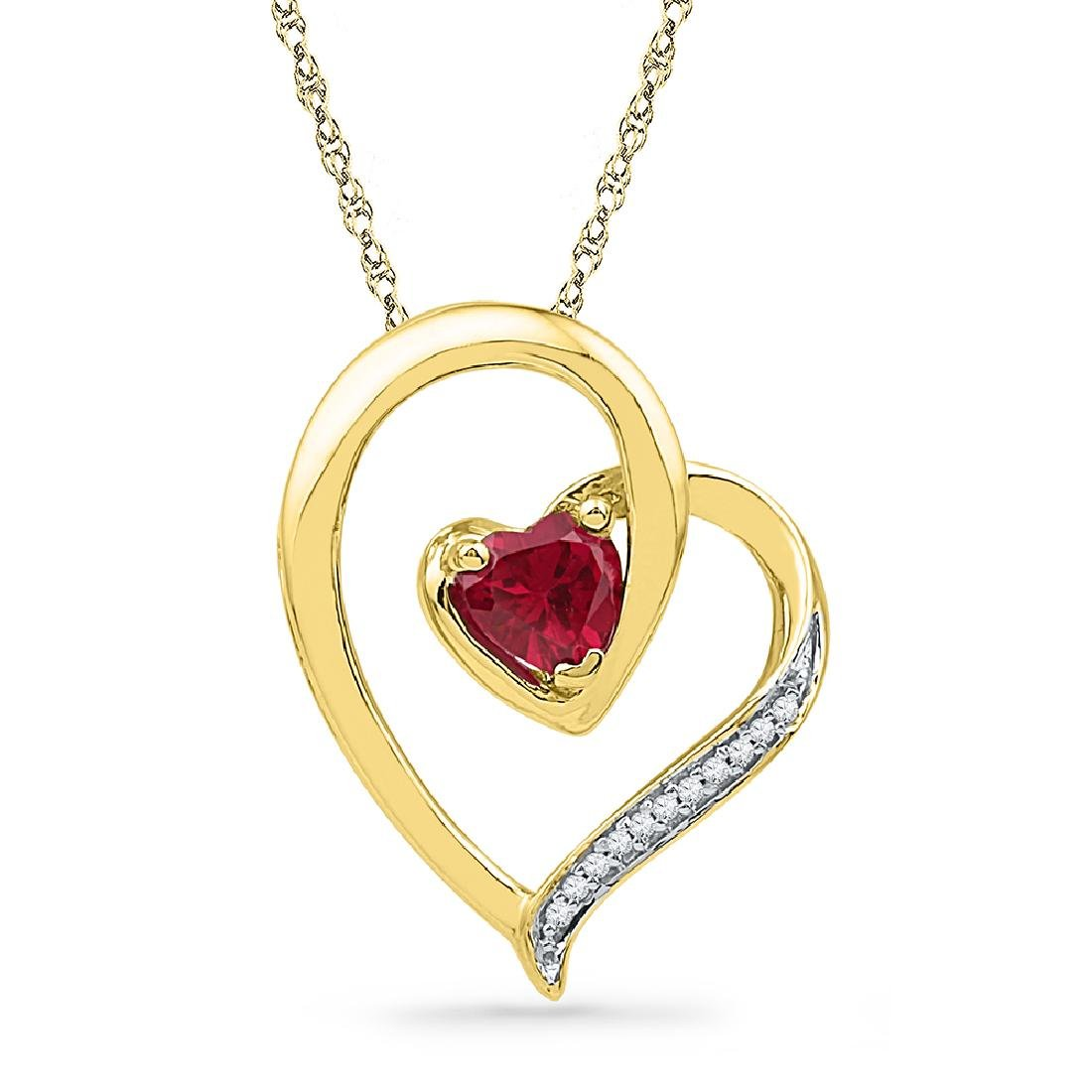 0.03 CTW Created Ruby Heart Love Pendant 10KT Yellow