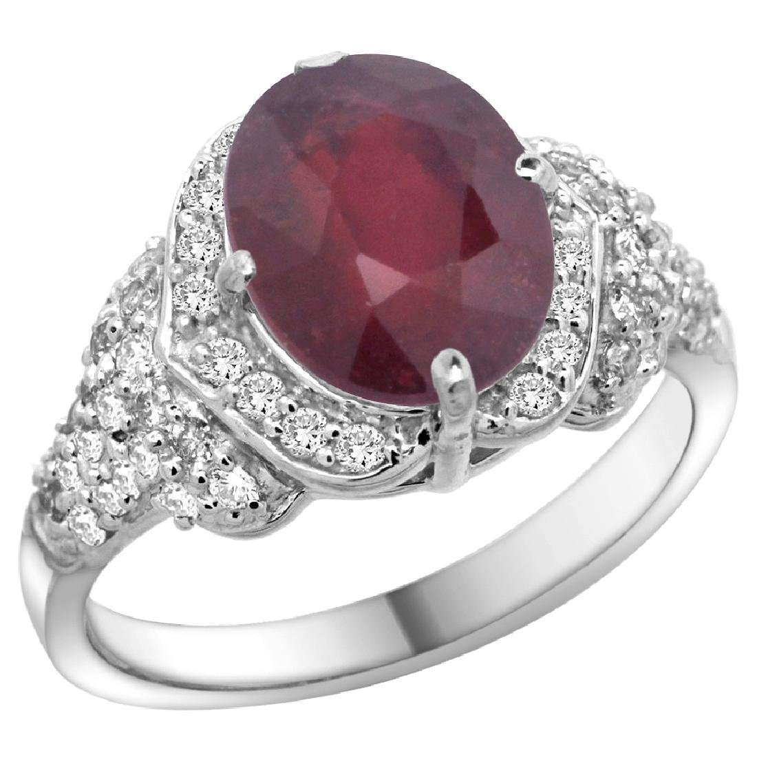 Natural 4.16 ctw ruby & Diamond Engagement Ring 14K