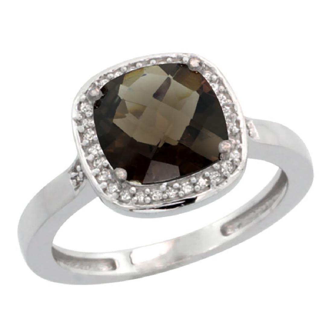 Natural 3.94 ctw Smoky-topaz & Diamond Engagement Ring