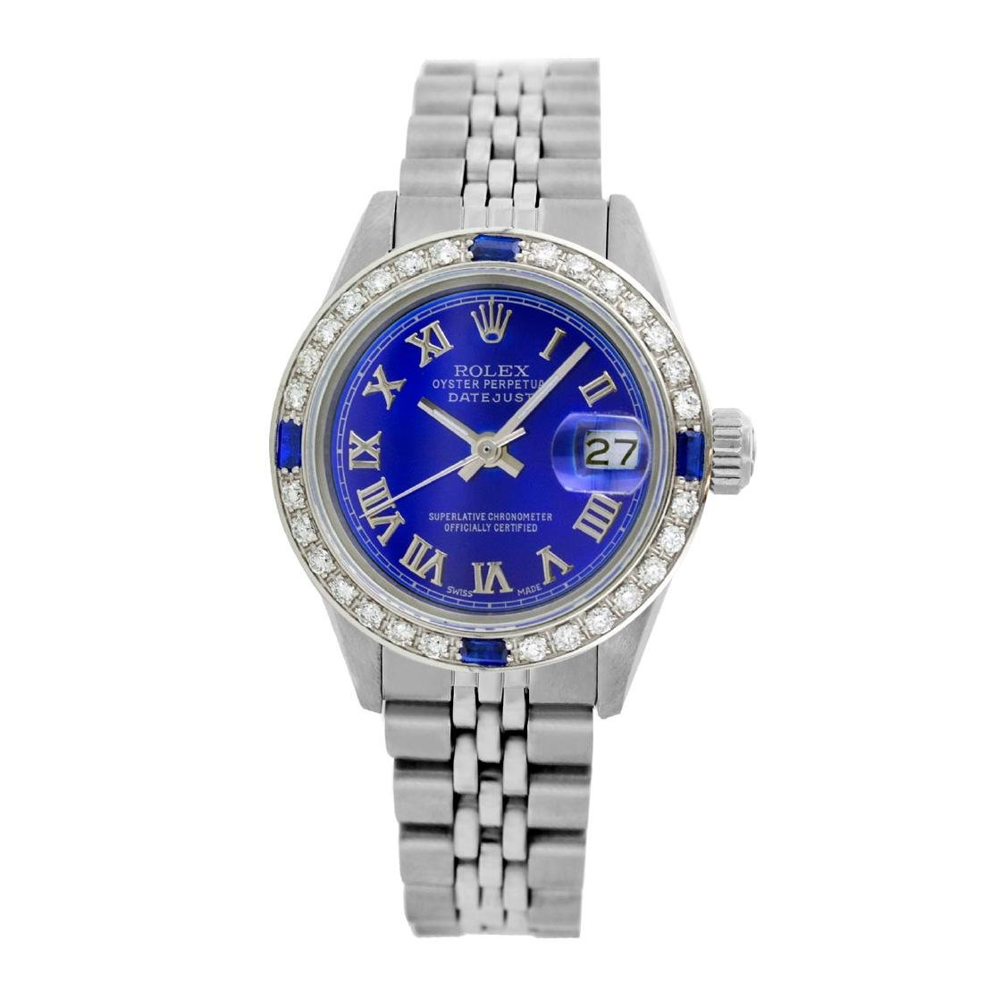 Rolex Pre-owned 26mm Womens Custom Blue with Tracker