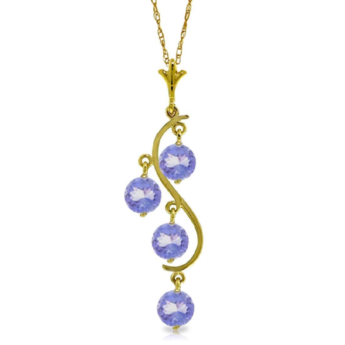 Genuine 2 ctw Tanzanite Necklace Jewelry 14KT Yellow