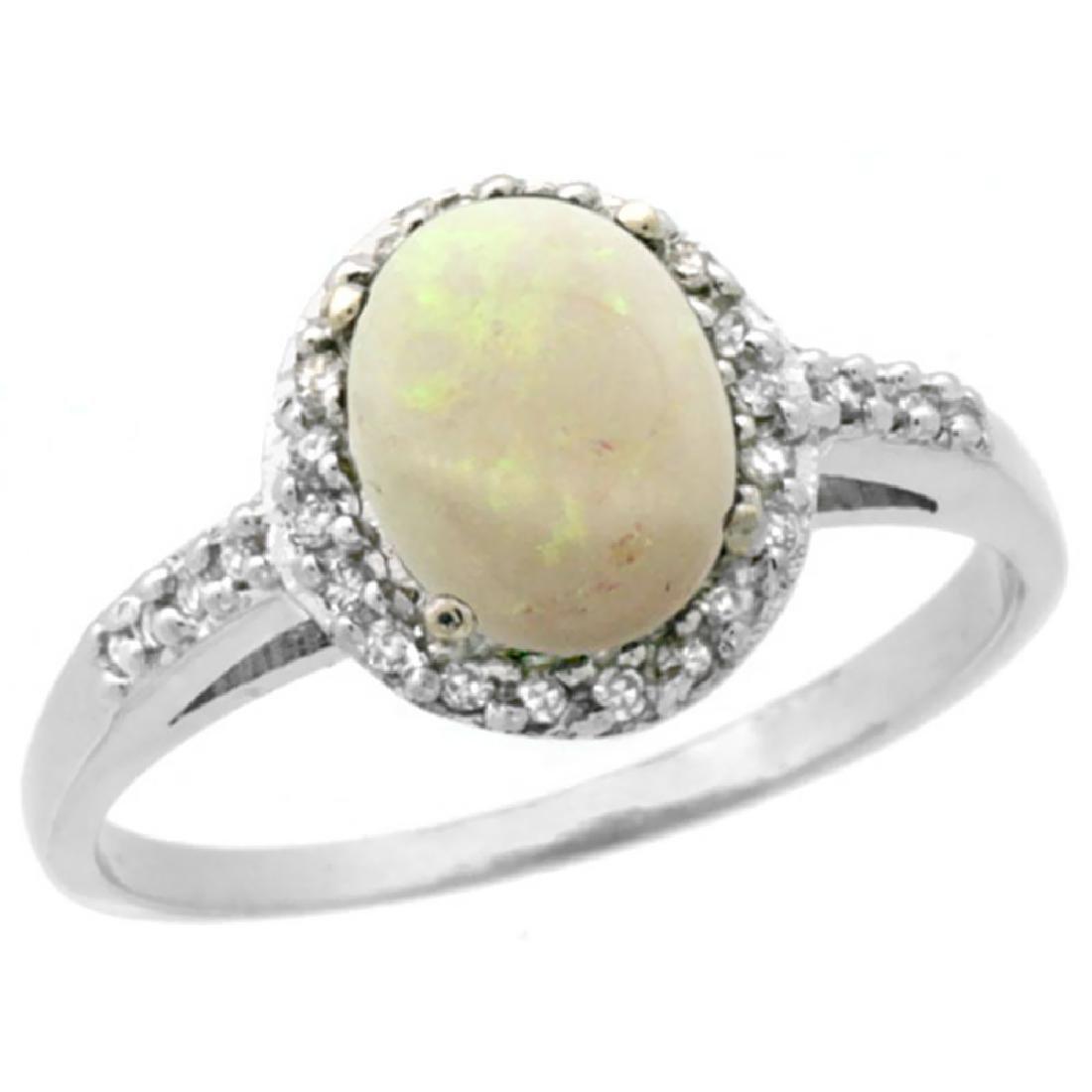 Natural 0.83 ctw Opal & Diamond Engagement Ring 10K