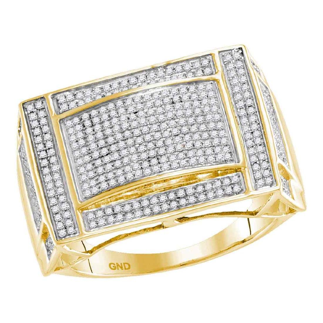 0.76 CTW Mens Pave-set Diamond Convex Dome Ring 10KT