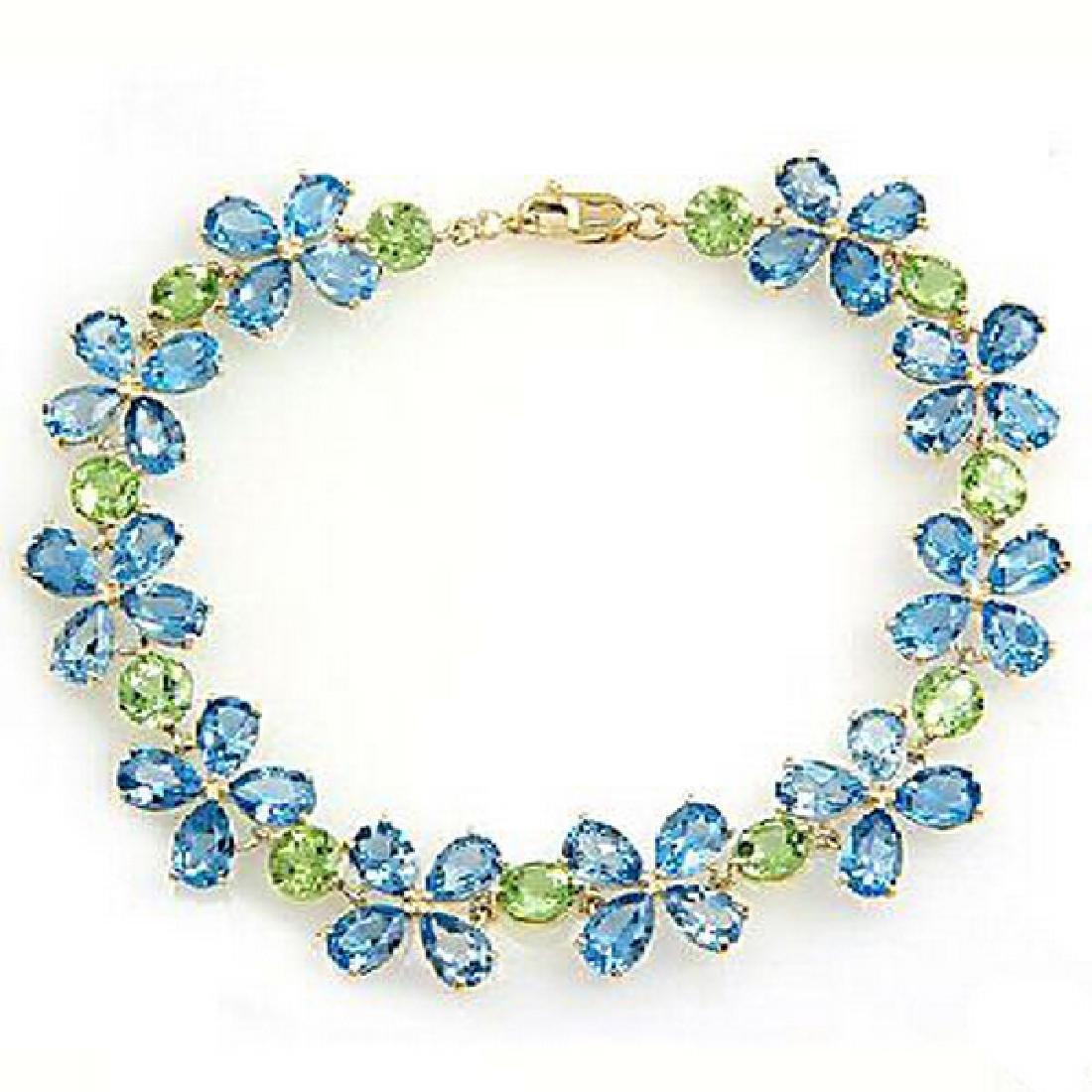 Genuine 20.7 ctw Blue Topaz & Peridot Bracelet Jewelry