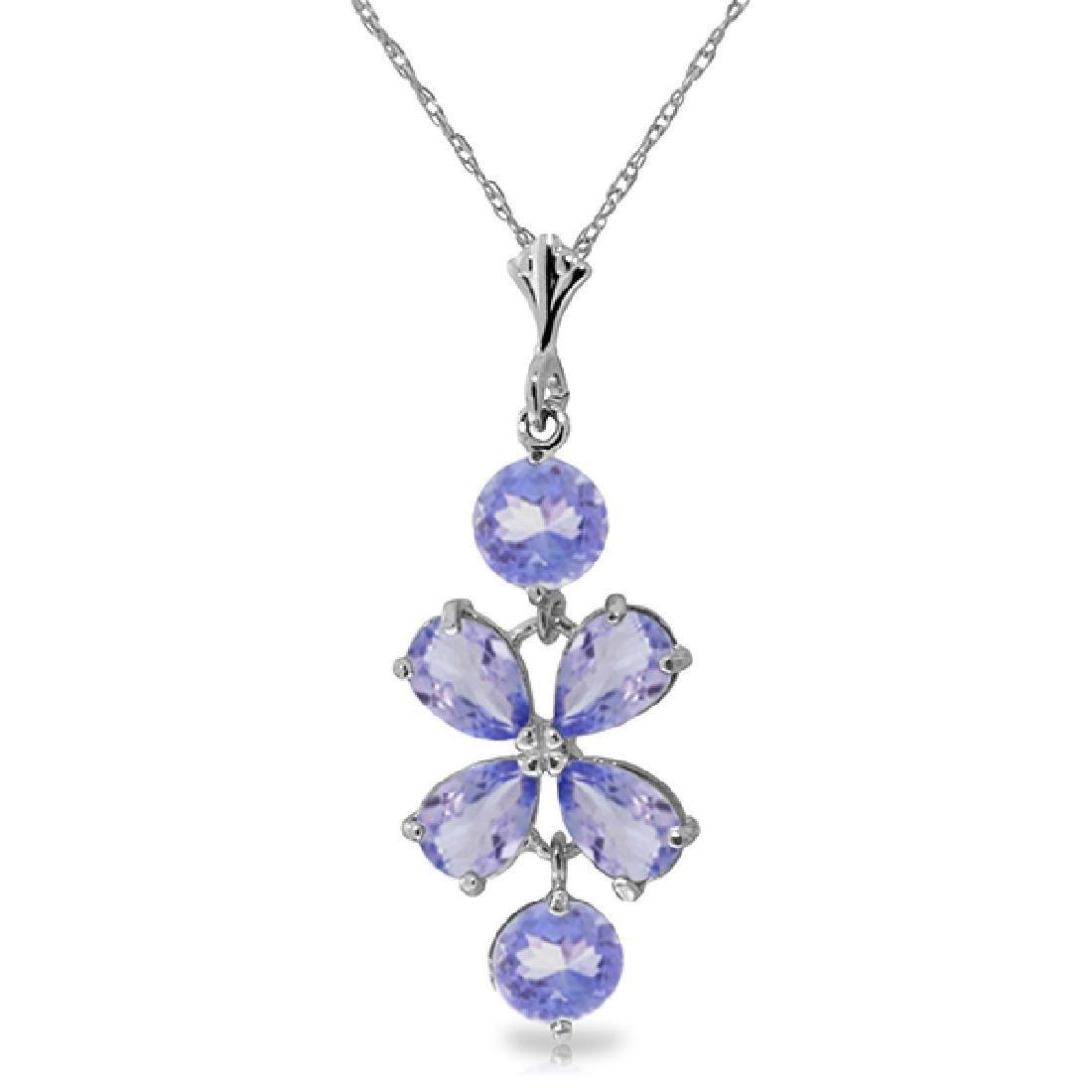 Genuine 3.15 ctw Tanzanite Necklace Jewelry 14KT White