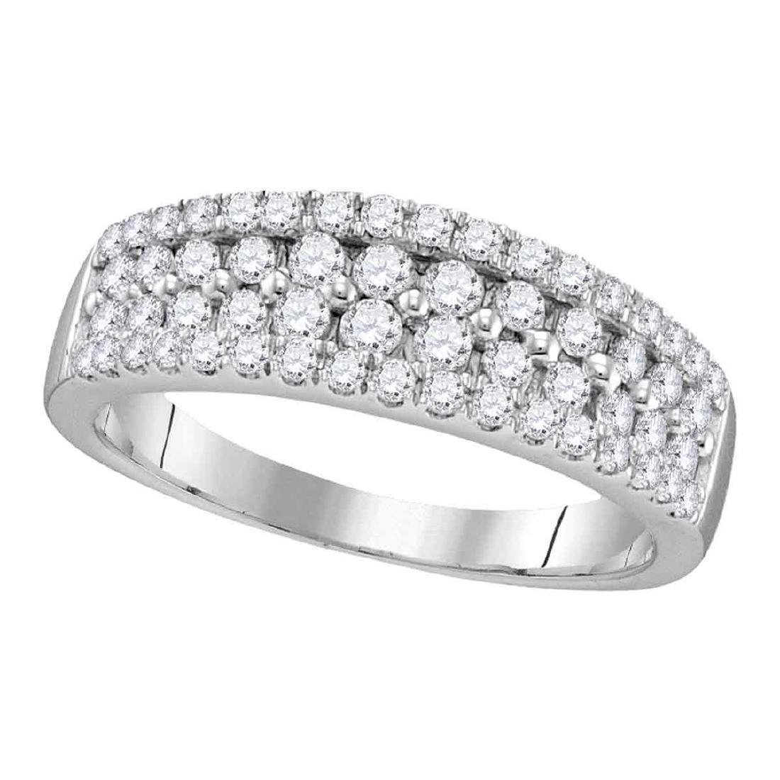 0.96 CTW Pave-set Diamond Double Two Row Ring 10KT
