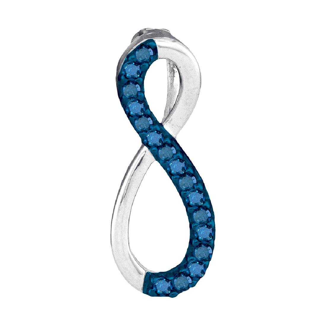 0.10 CTW Blue Color Diamond Vertical Infinity Love