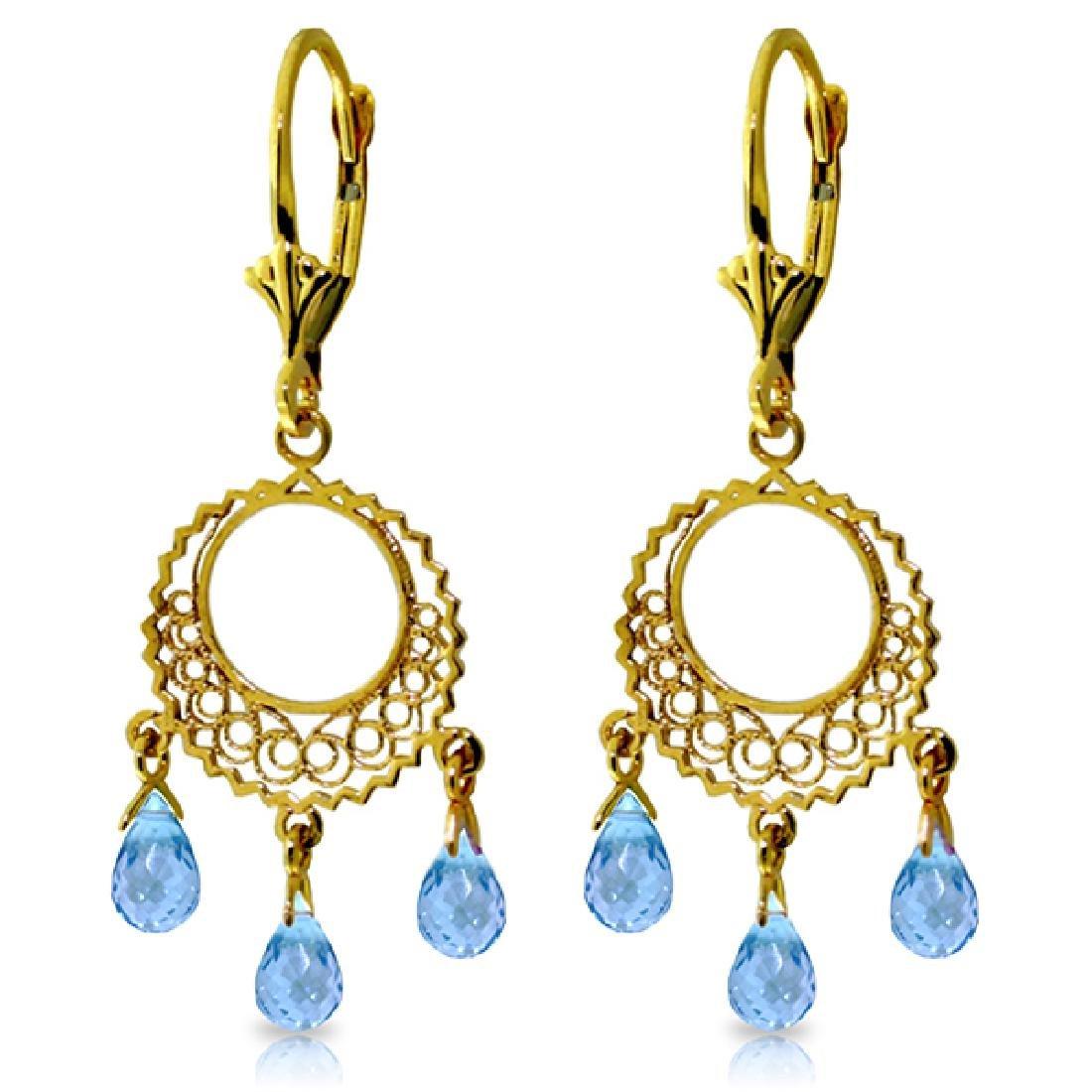 Genuine 3.75 ctw Blue Topaz Earrings Jewelry 14KT
