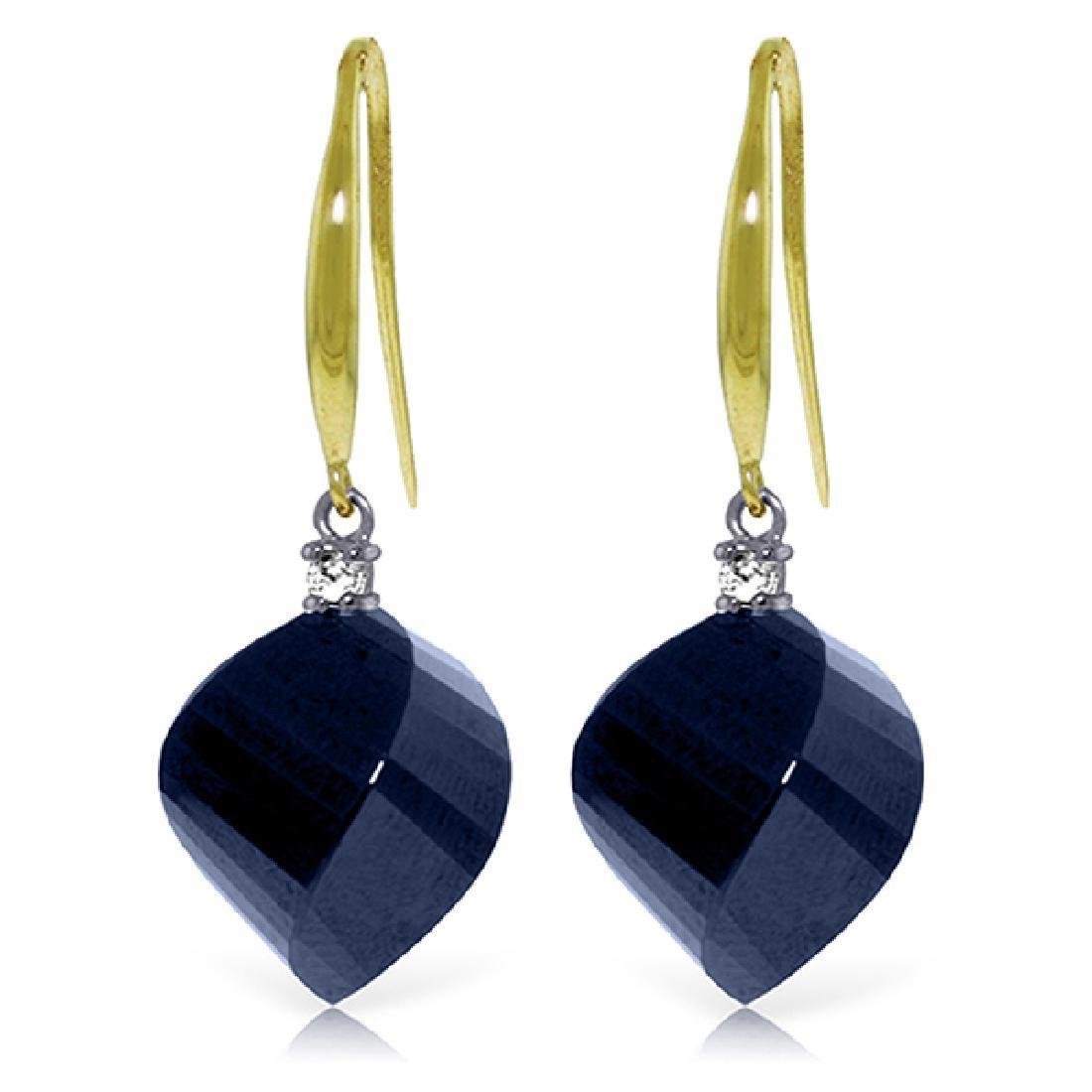 Genuine 30.6 ctw Sapphire & Diamond Earrings Jewelry