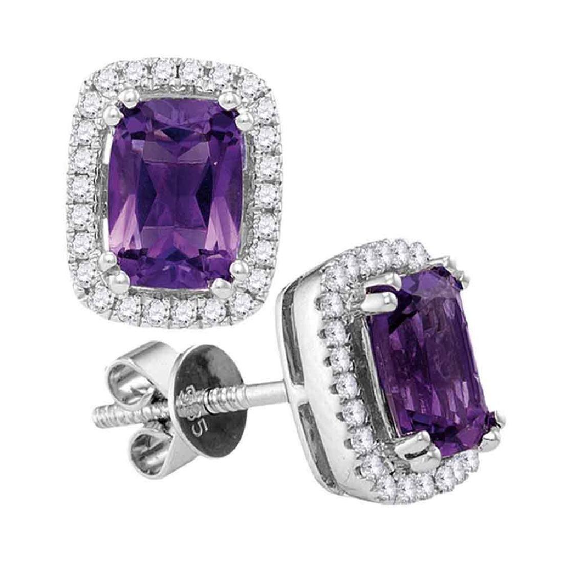 1.87 CTW Oval Natural Amethyst Diamond Stud Earrings