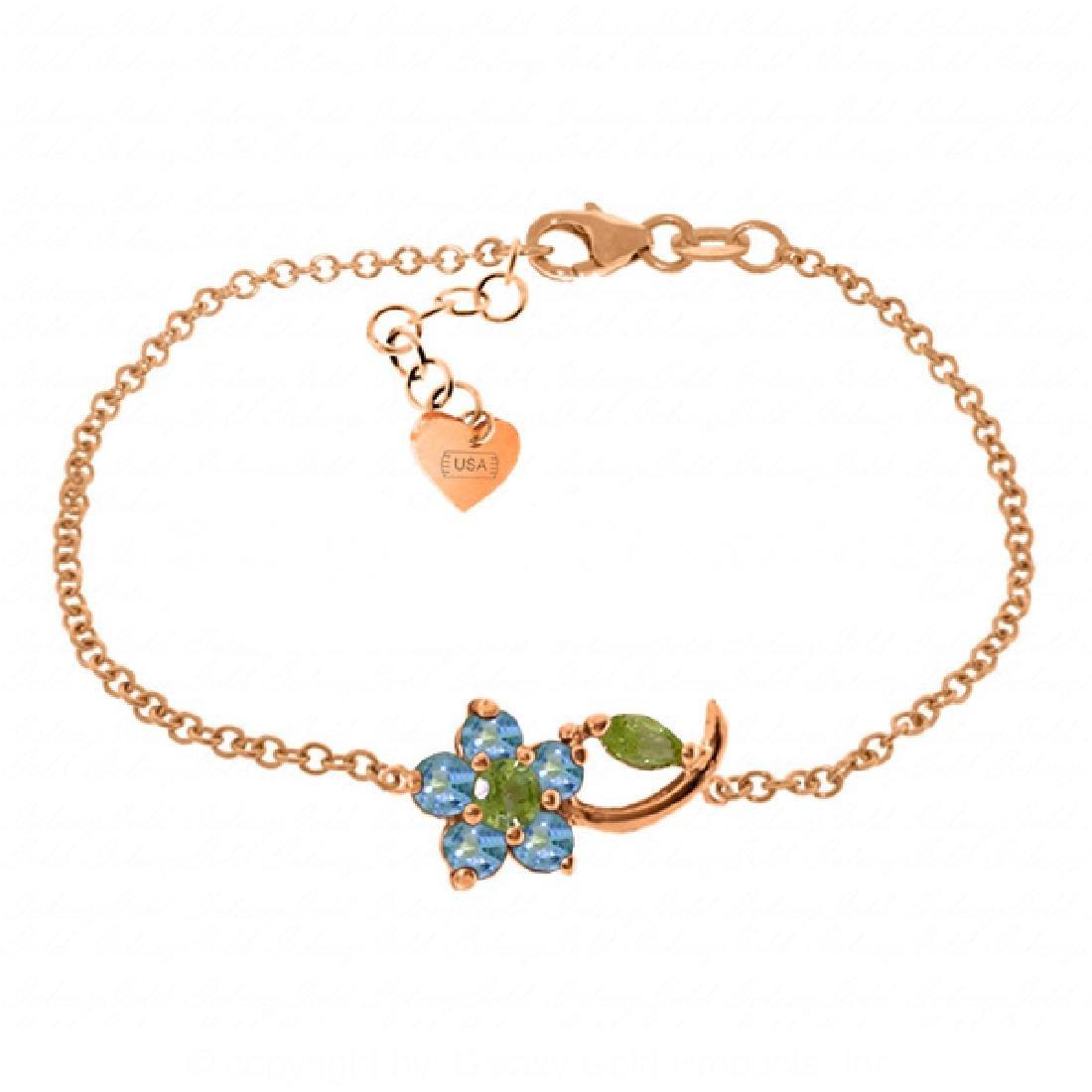 Genuine 0.87 ctw Blue Topaz & Peridot Bracelet Jewelry