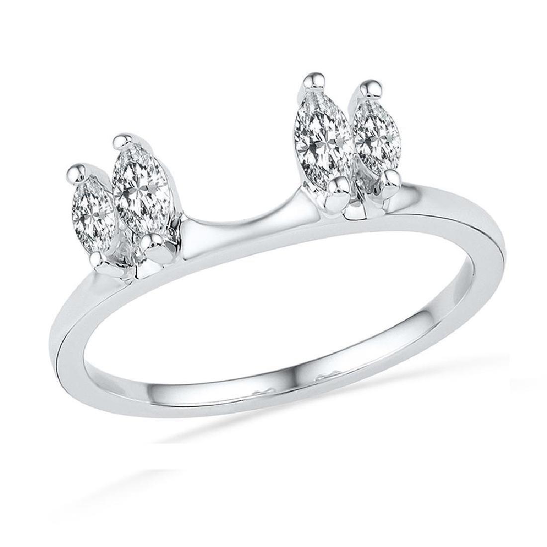 0.50 CTWOval Diamond Ring 14KT White Gold - REF-56K2W