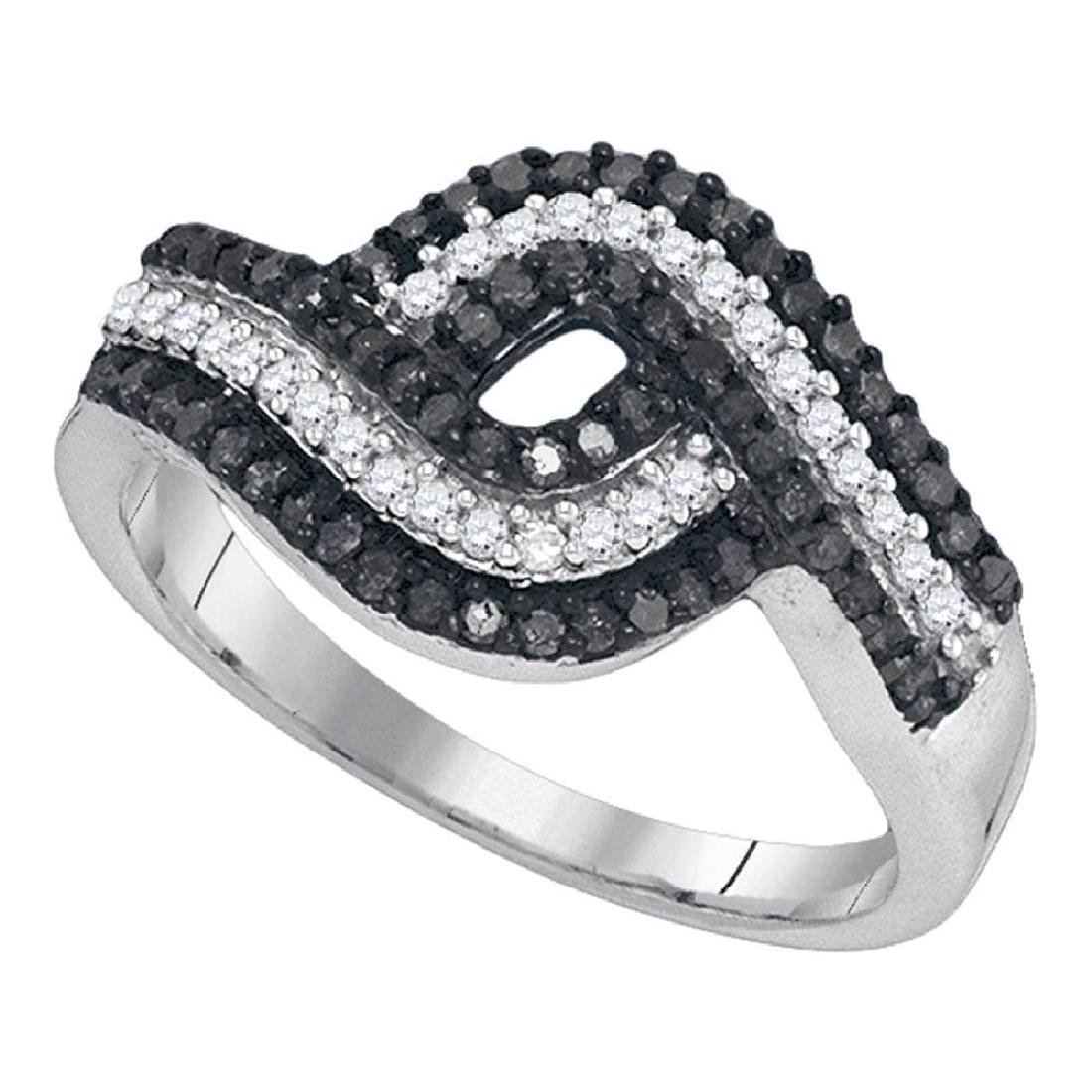 0.50 CTWBlack Color Diamond Woven Cocktail Ring 10KT