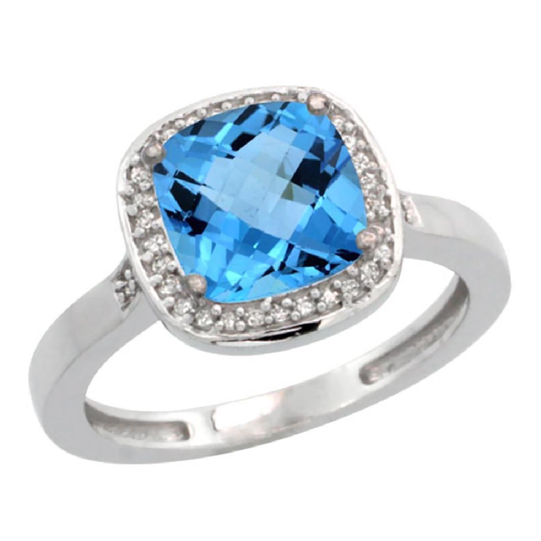 Natural 3.94 ctw Swiss-blue-topaz & Diamond Engagement