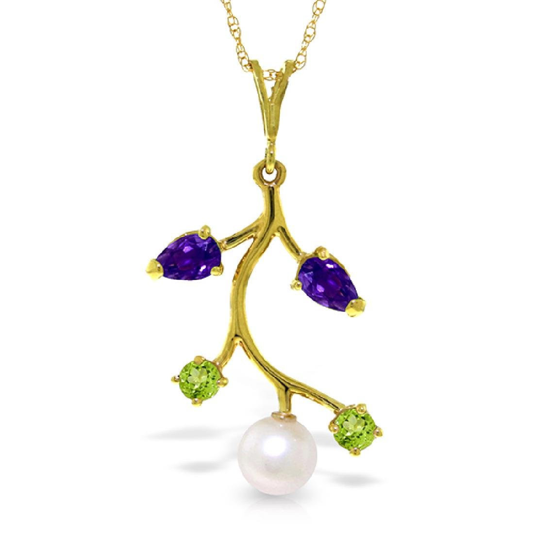 Genuine 2.7 ctw Amethyst, Peridot & Pearl Necklace
