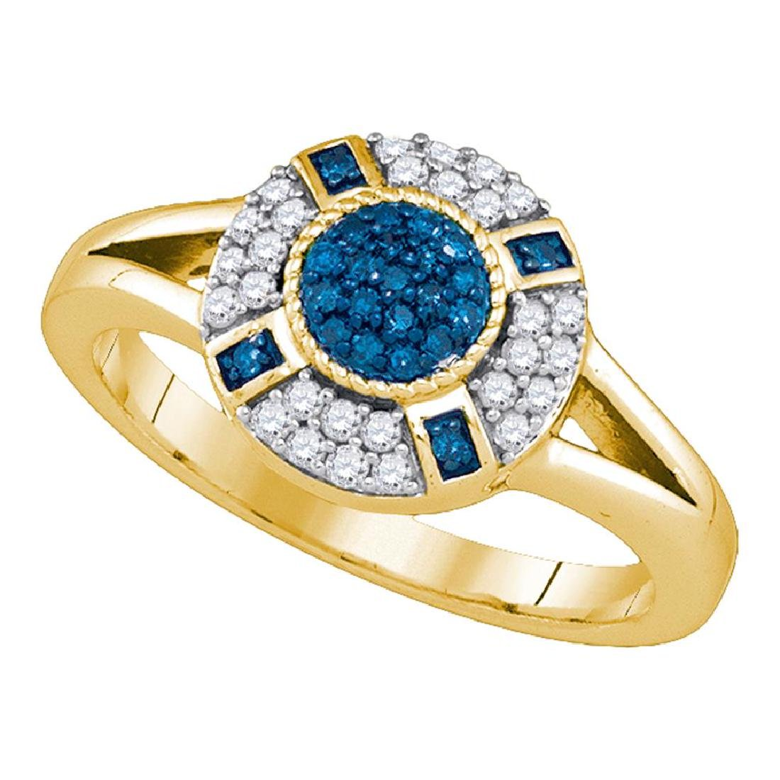 0.40 CTW Blue Color Diamond Circle Cluster Ring 10KT