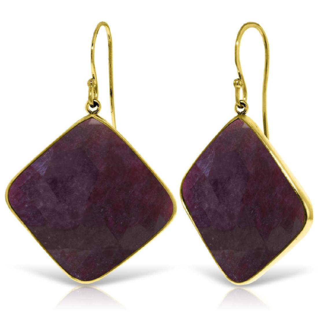 Genuine 40.5 ctw Ruby Earrings Jewelry 14KT Yellow Gold
