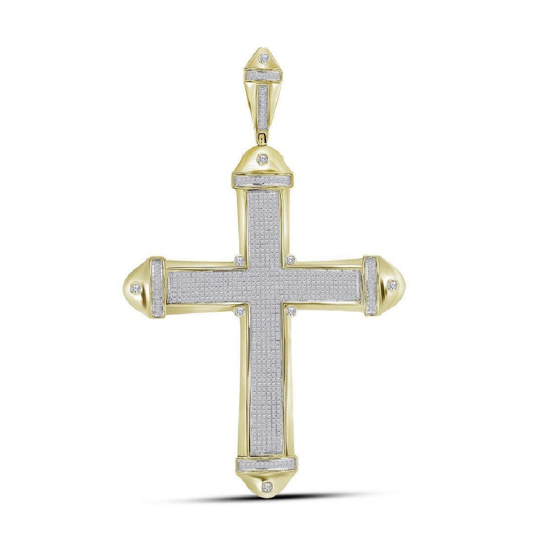 1.56 CTW Mens Pave-set Diamond Cross Crucifix Charm