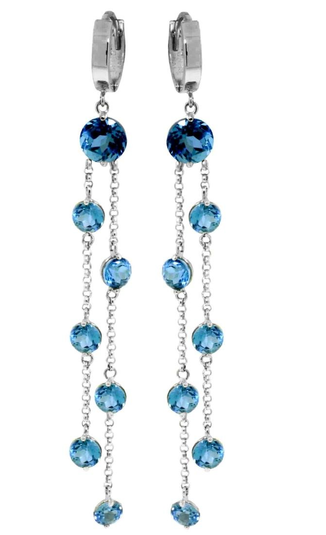 Genuine 9.02 ctw Blue Topaz Earrings Jewelry 14KT White
