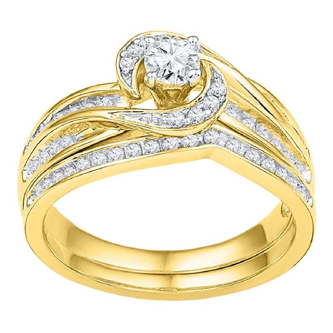 0.50 CTWDiamond Swirl Bridal Engagement Ring 10KT