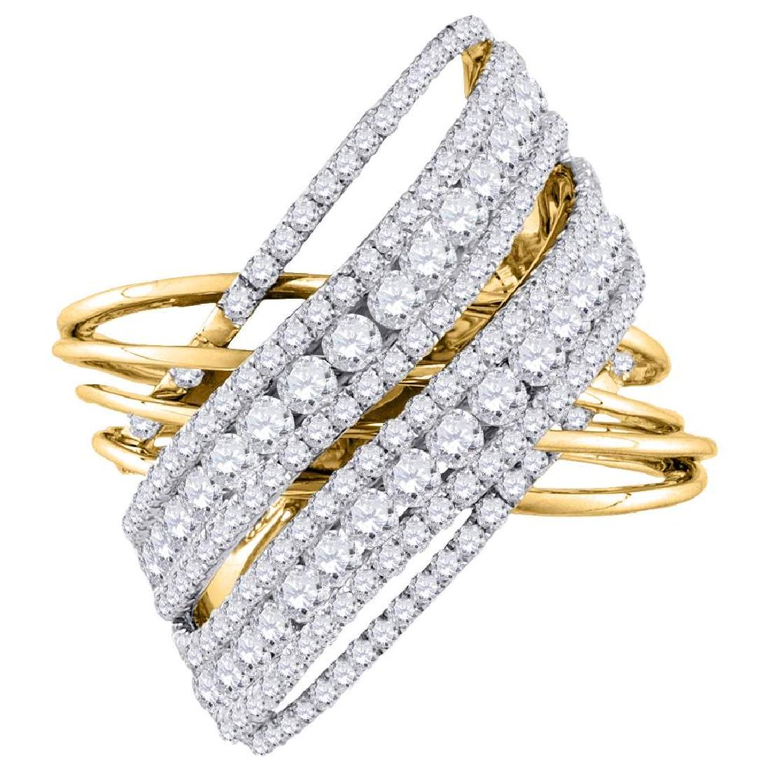 2.48 CTW Diamond Crossover Open Strand Cocktail Ring
