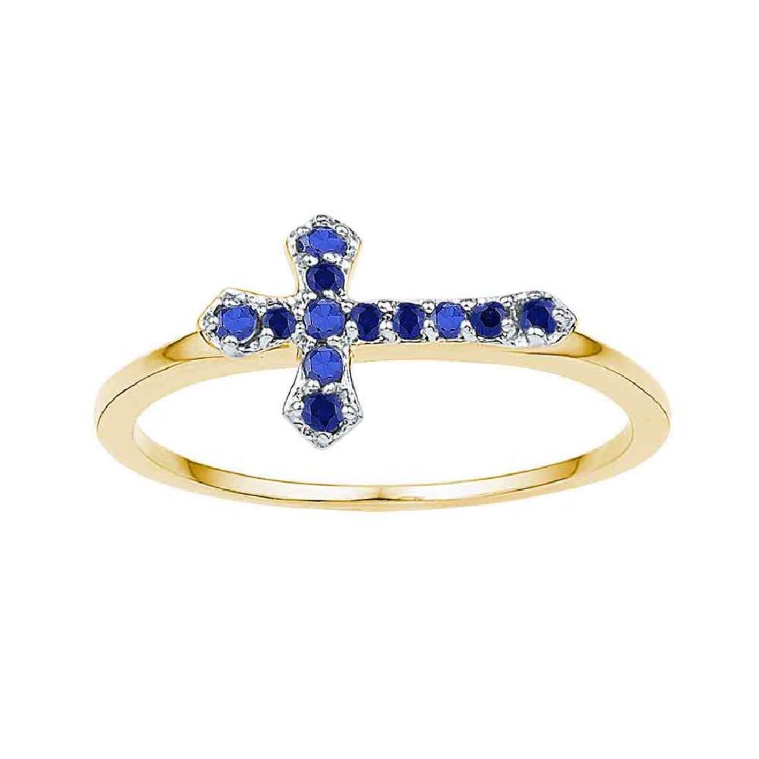 0.14 CTW Created Blue Sapphire Cross Ring 10KT Yellow
