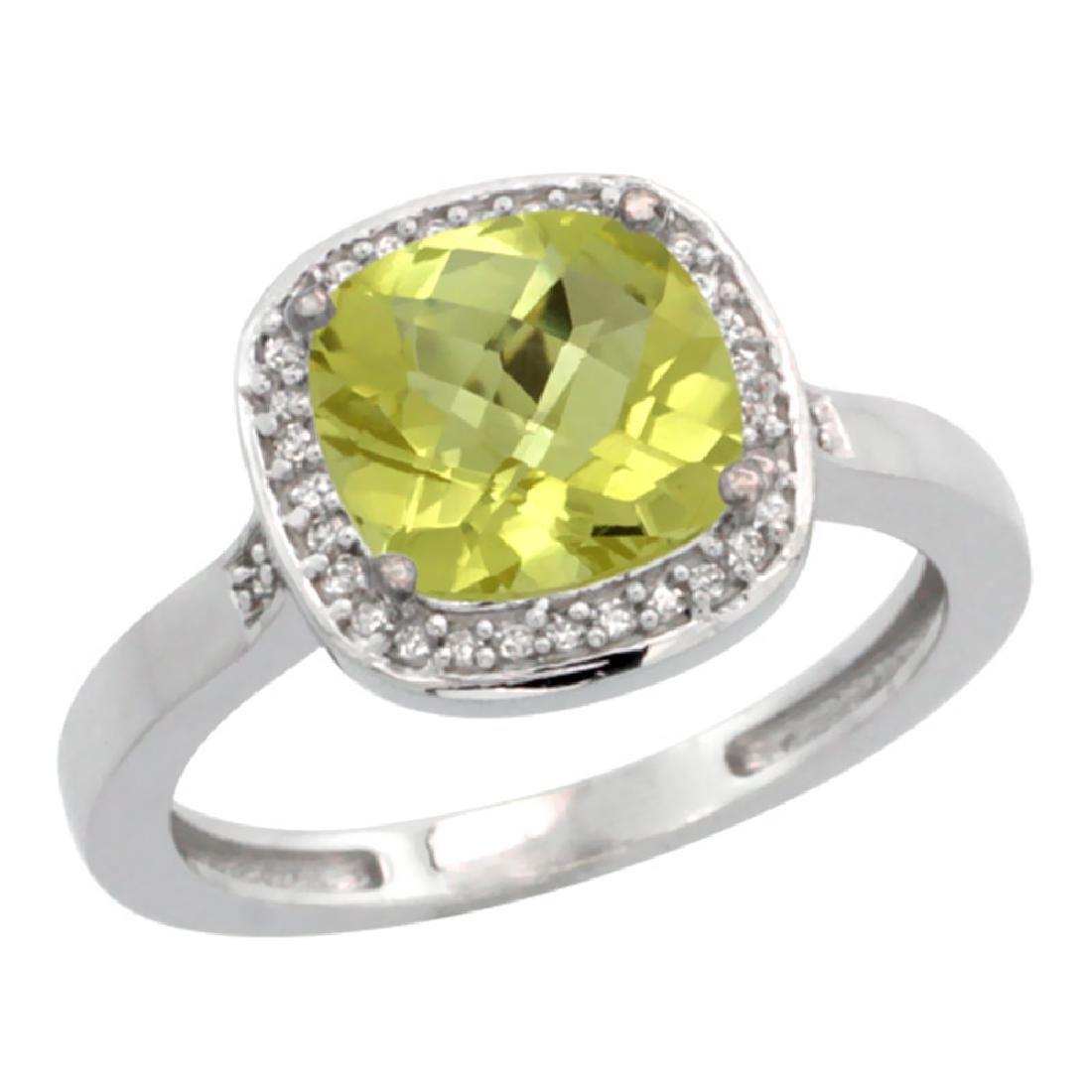 Natural 3.94 ctw Lemon-quartz & Diamond Engagement Ring