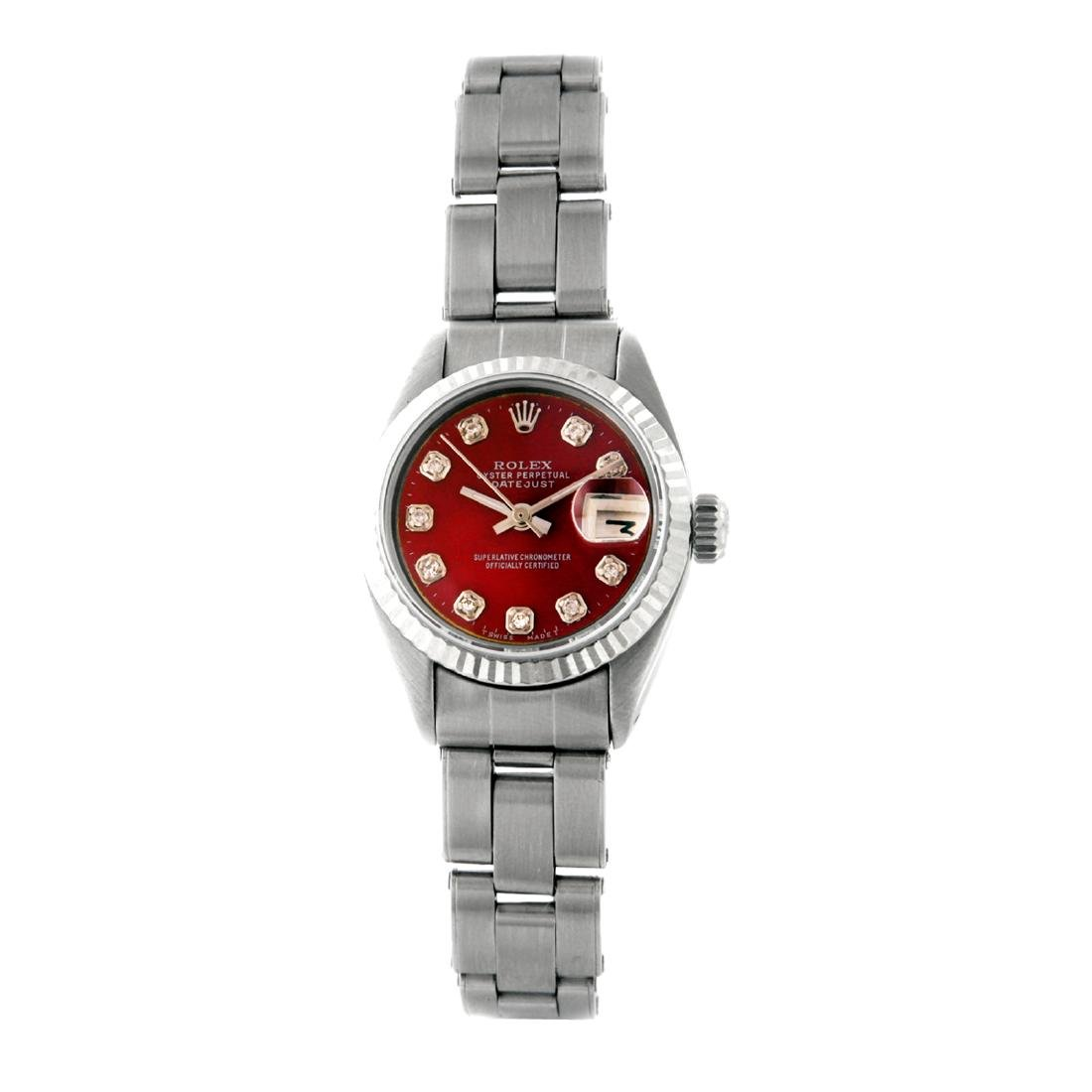 Rolex Pre-owned 26mm Womens Custom Red Stainless Steel