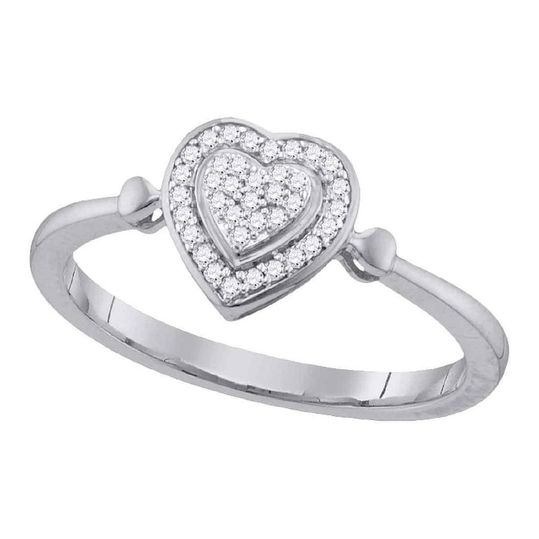 0.10 CTW Diamond Heart Ring 10KT White Gold - REF-12F8N