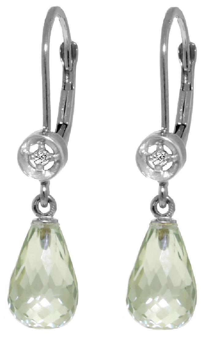 Genuine 4.53 ctw Green Amethyst & Diamond Earrings
