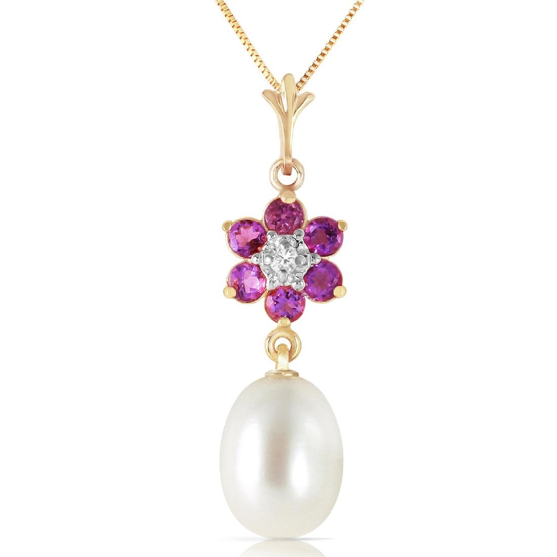 Genuine 4.53 ctw Pearl, Amethyst & Diamond Necklace