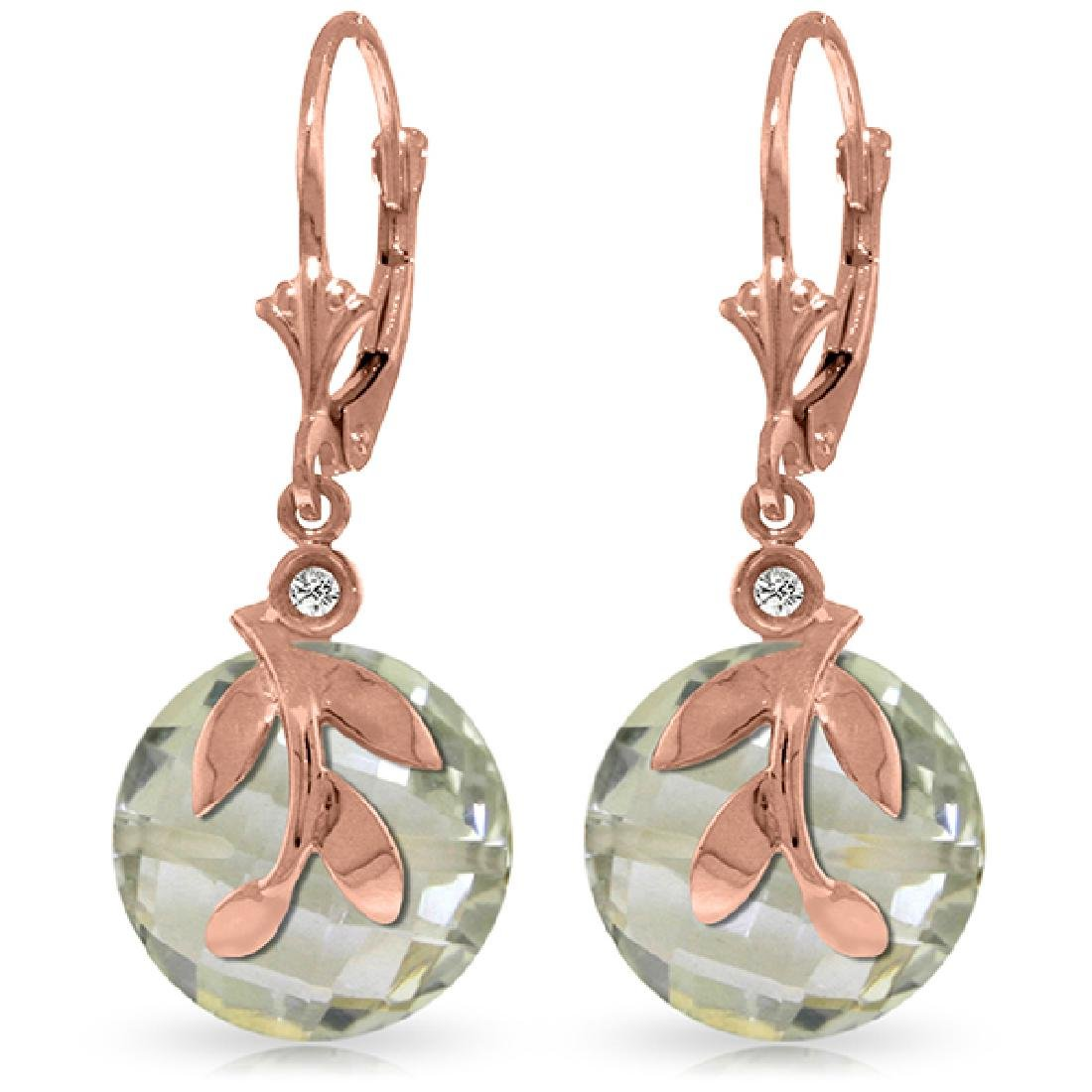 Genuine 10.63 ctw Green Amethyst & Diamond Earrings