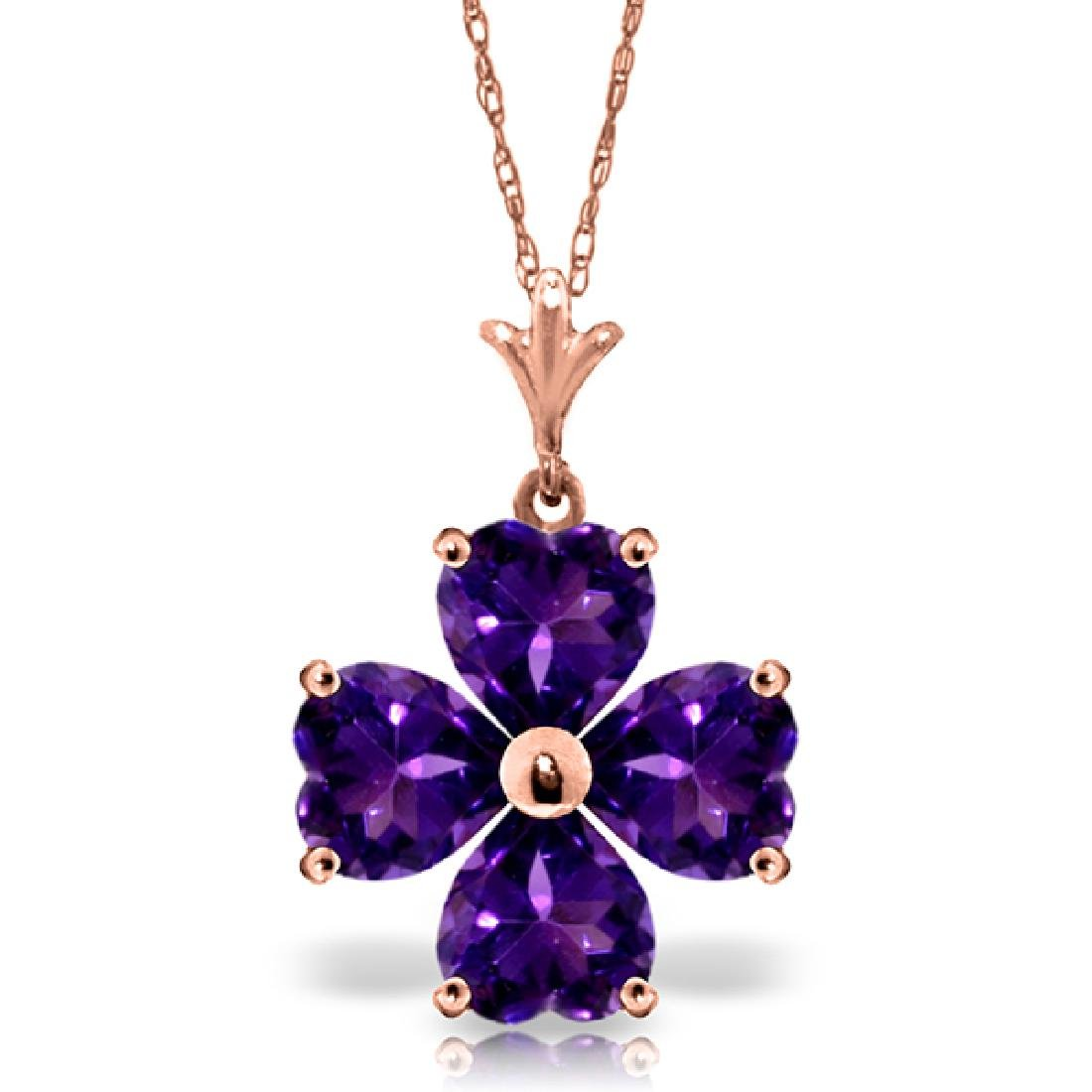 Genuine 3.8 ctw Amethyst Necklace Jewelry 14KT Rose
