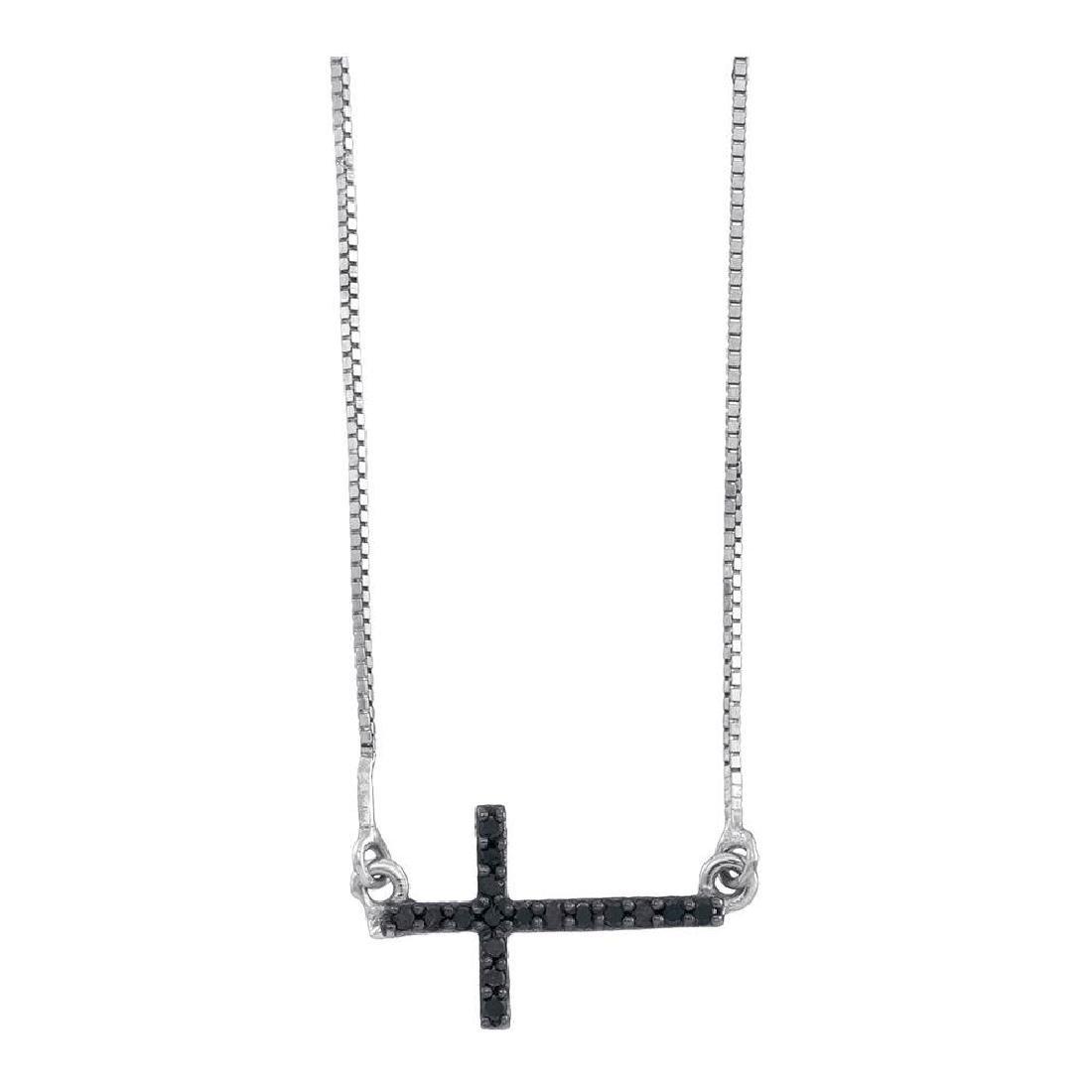 0.10 CTW Black Color Diamond Small Horizontal Cross