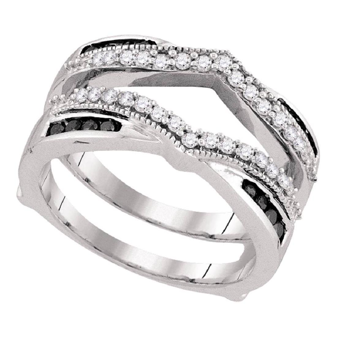 0.50 CTWBlack Color Diamond Wrap Ring 10KT White Gold -