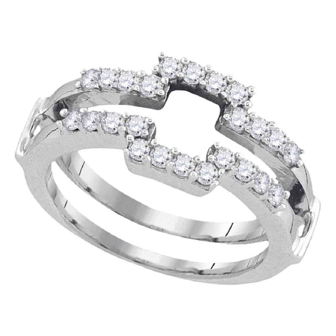 0.50 CTWDiamond Square Wrap Ring 14KT White Gold -