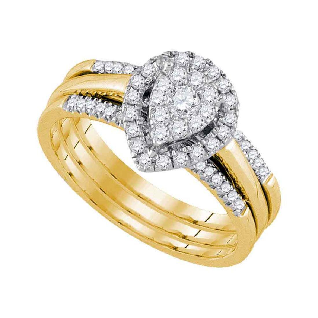 0.51 CTW Diamond Teardrop Bridal Engagement Ring 10KT