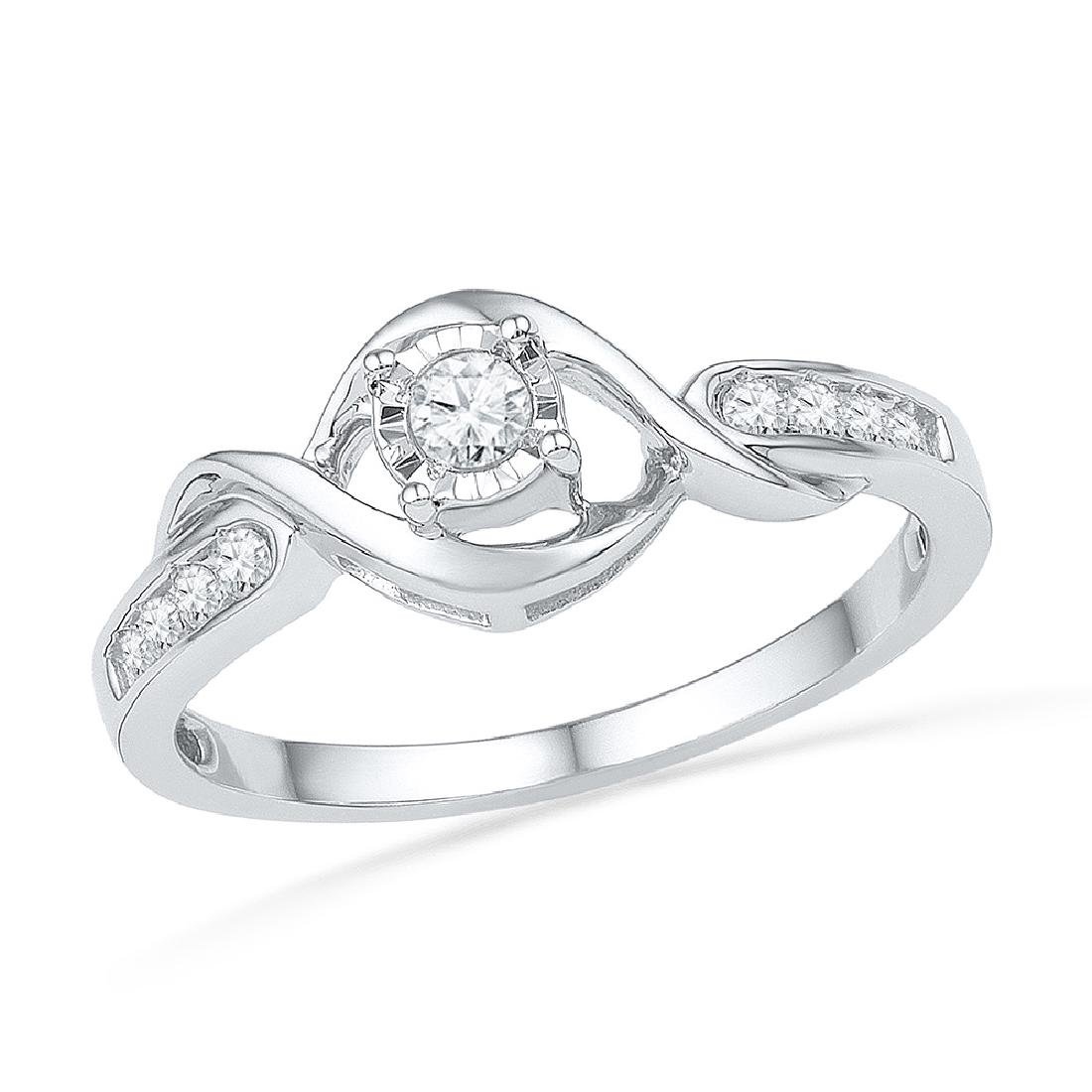 0.16 CTW Diamond Solitaire Promise Bridal Ring 10KT