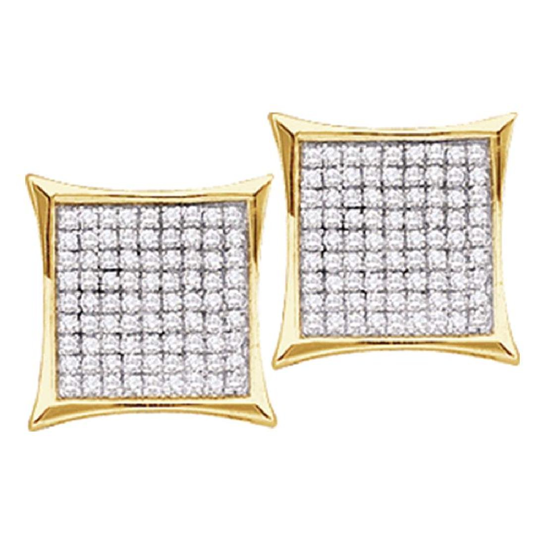 0.23 CTW Diamond Square Cluster Earrings 14KT Yellow