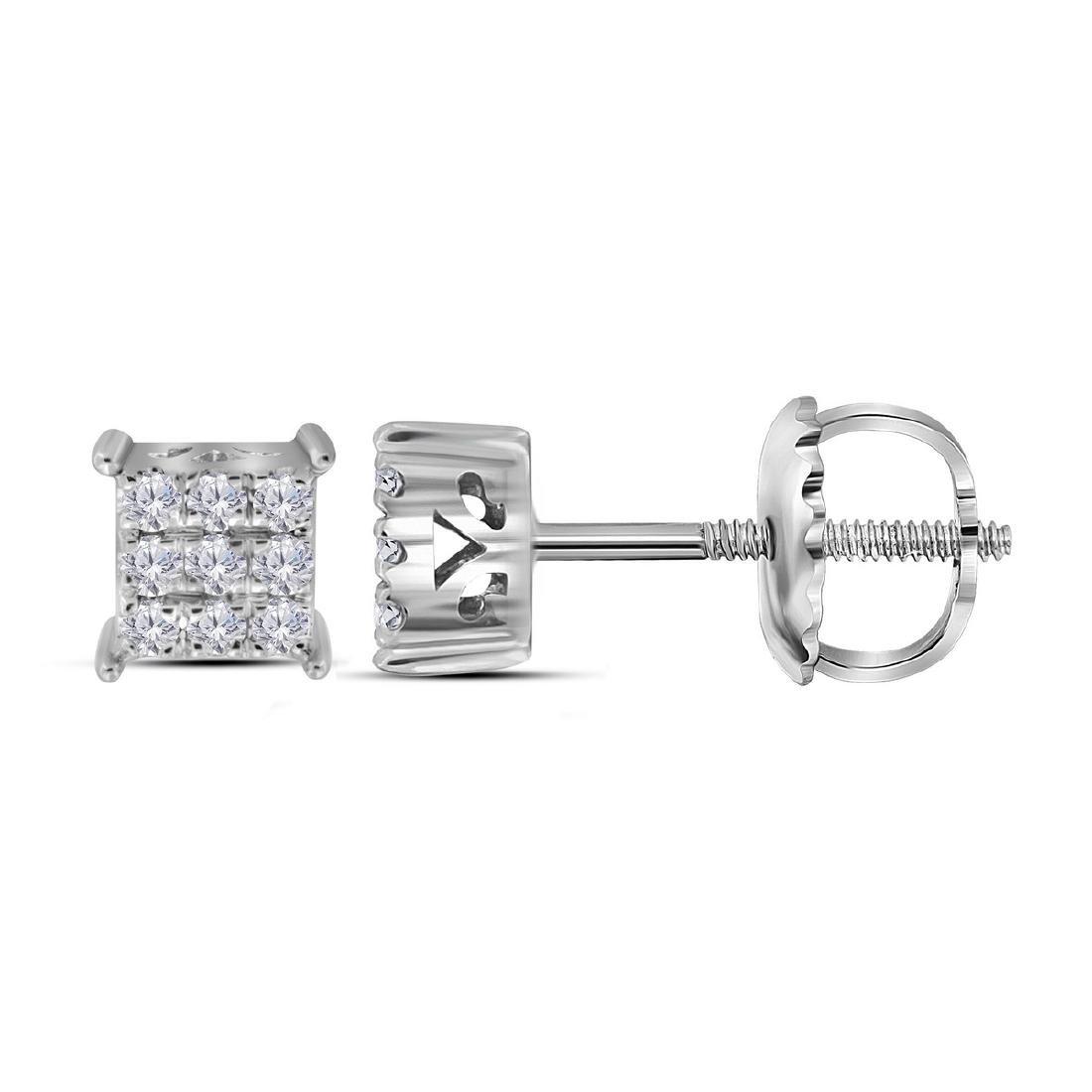 0.15 CTW Diamond Square Cluster Stud Earrings 10KT