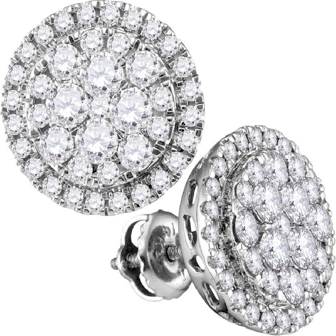 1.01 CTW Diamond Flower Cluster Circle Earrings 14KT