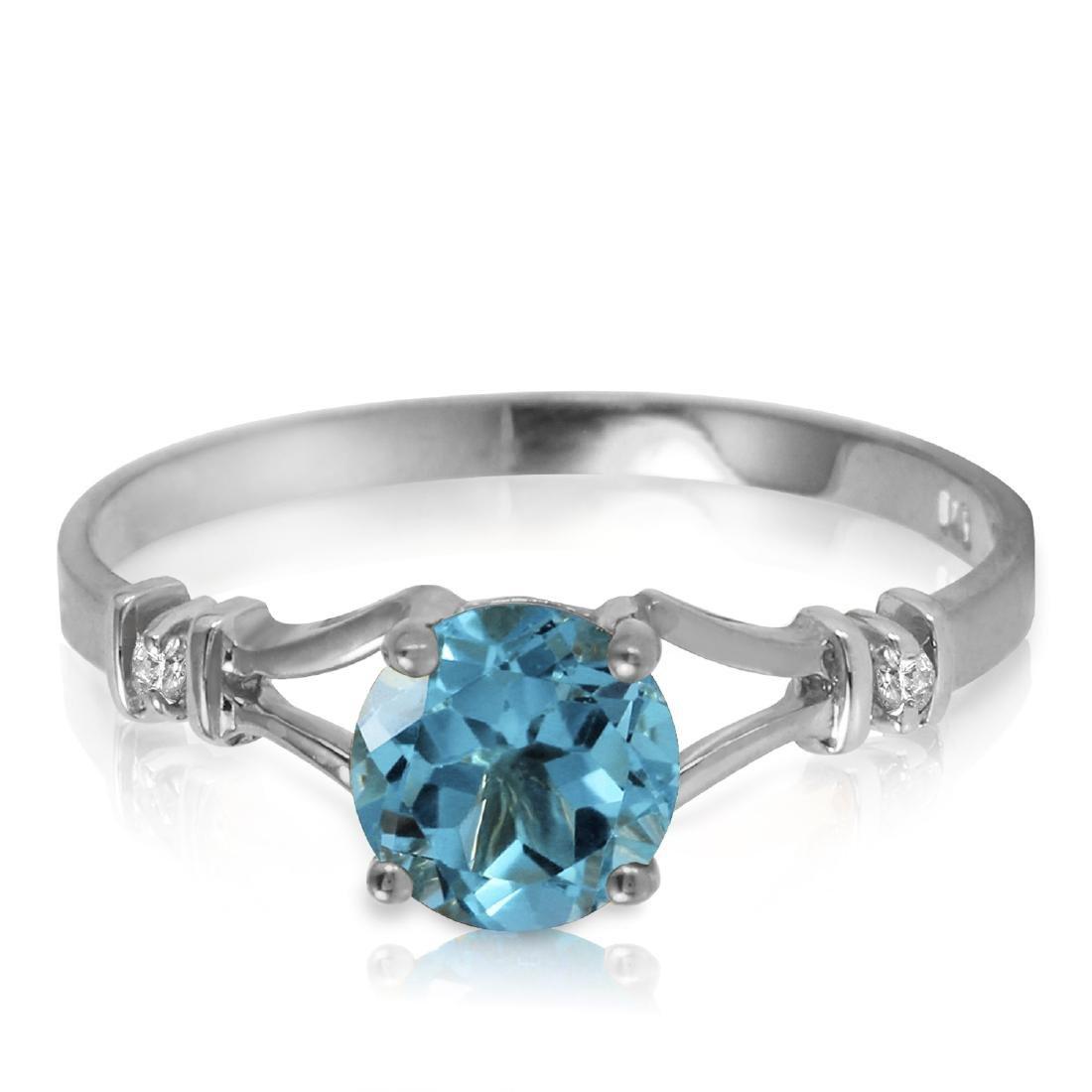 Genuine 1.02 ctw Blue Topaz & Diamond Ring Jewelry 14KT