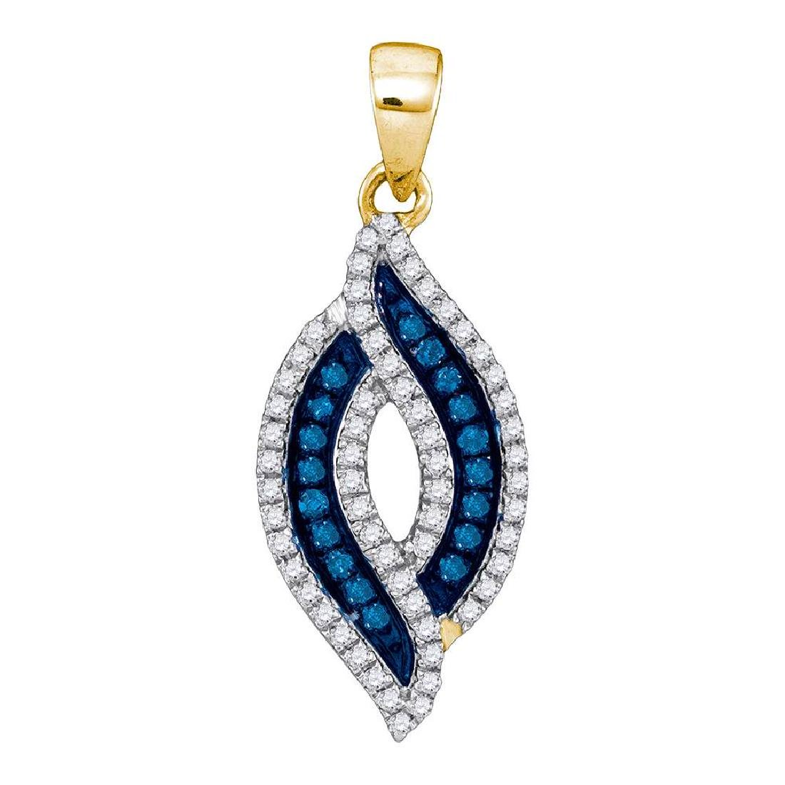 0.30 CTW Blue Color Diamond Oval Pendant 10KT Yellow