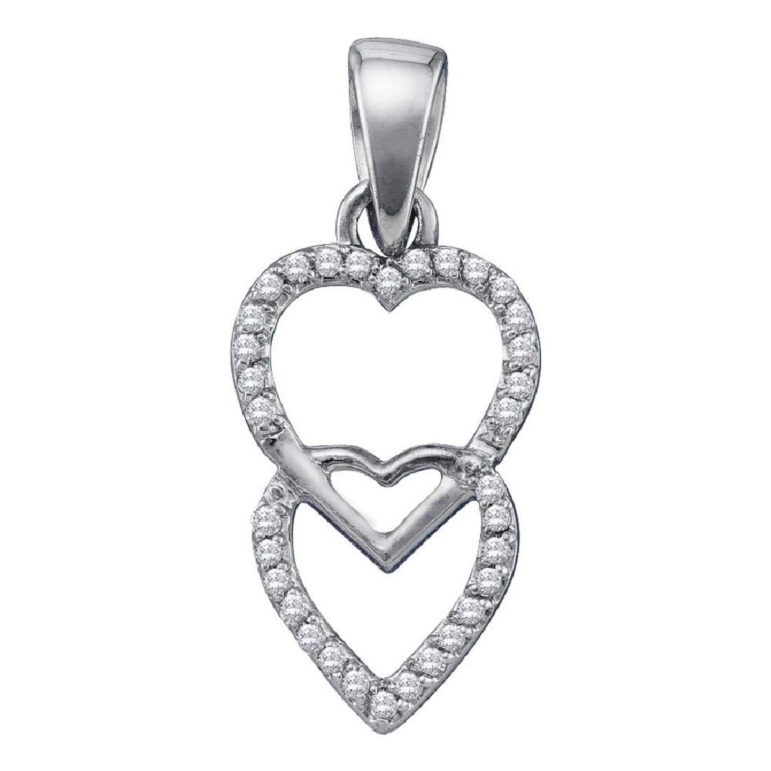 0.10 CTW Diamond Double Hanging Heart Pendant 10KT
