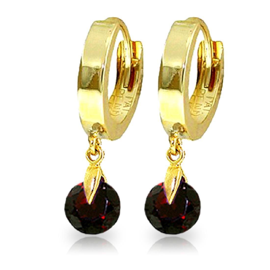 Genuine 2 ctw Garnet Earrings Jewelry 14KT Yellow Gold