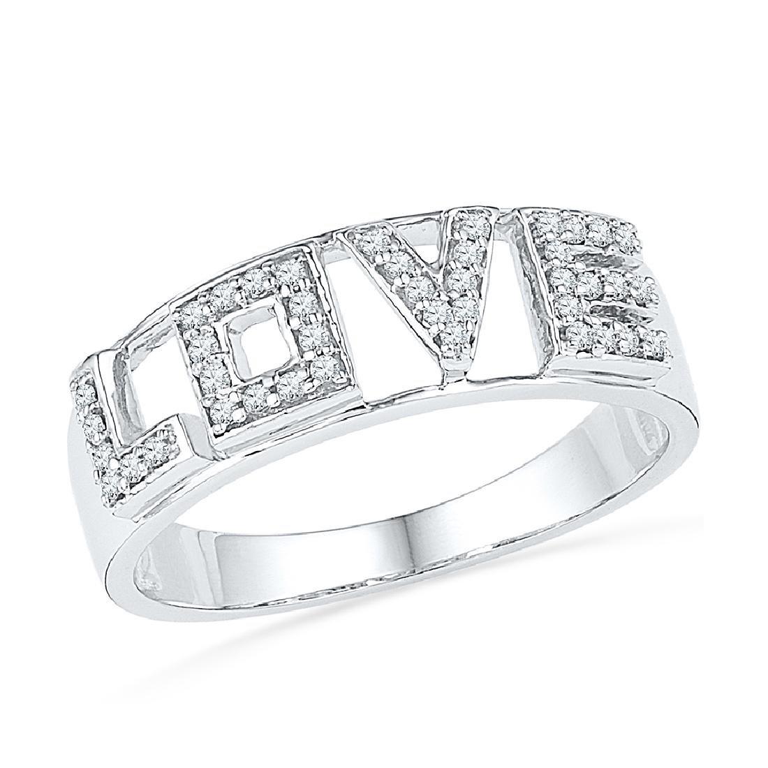 0.16 CTW Diamond Love Ring 10KT White Gold - REF-19N4F
