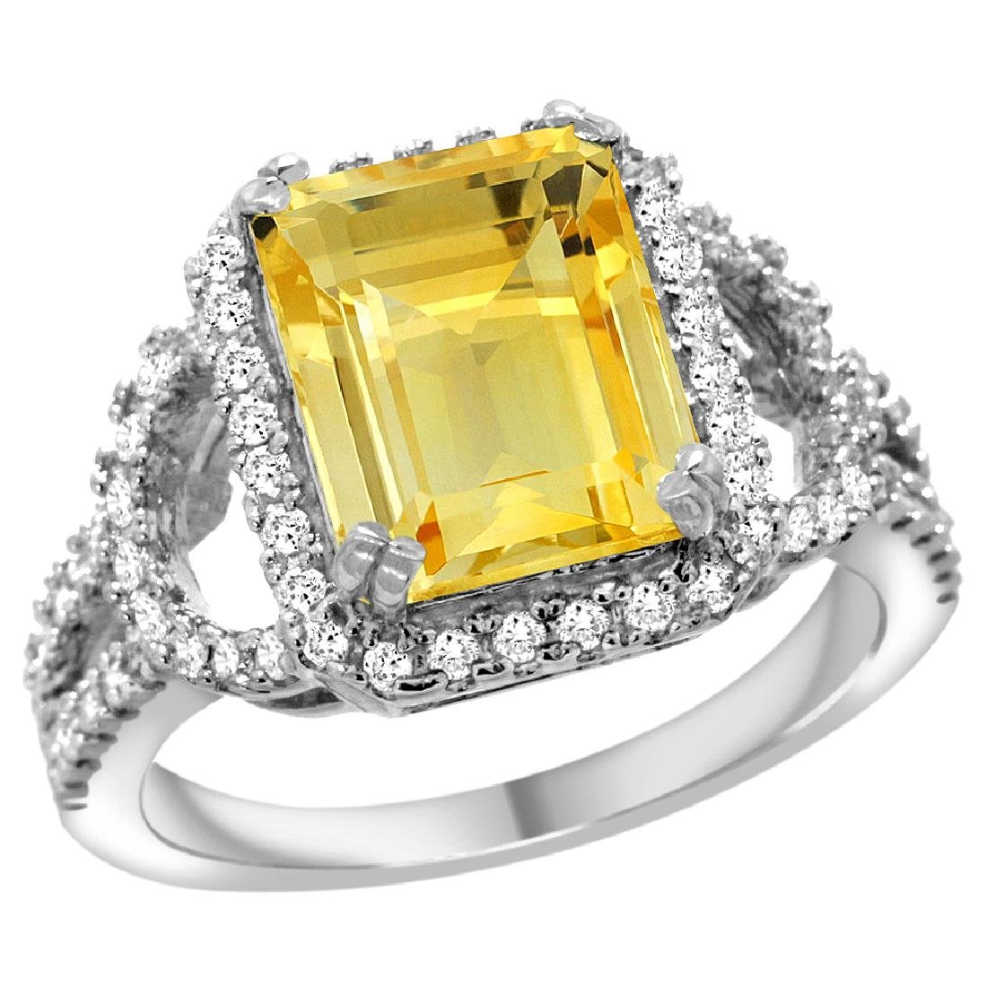 Natural 3.08 ctw citrine & Diamond Engagement Ring 14K