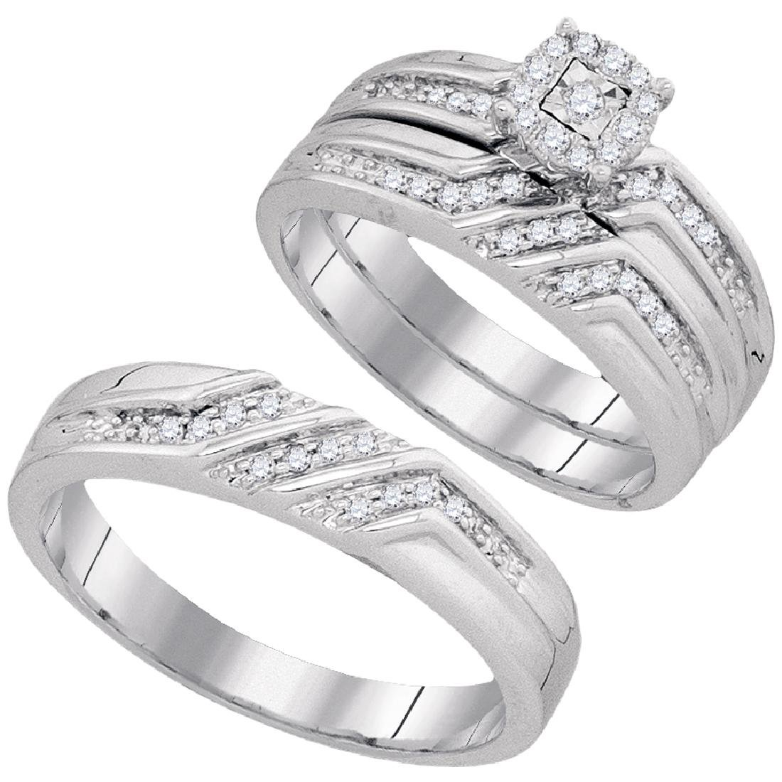 0.40 CTW His & Hers Diamond Solitaire Matching Bridal