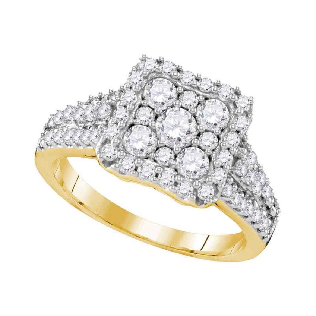 1.19 CTW Diamond Square Cluster Halo Bridal Engagement