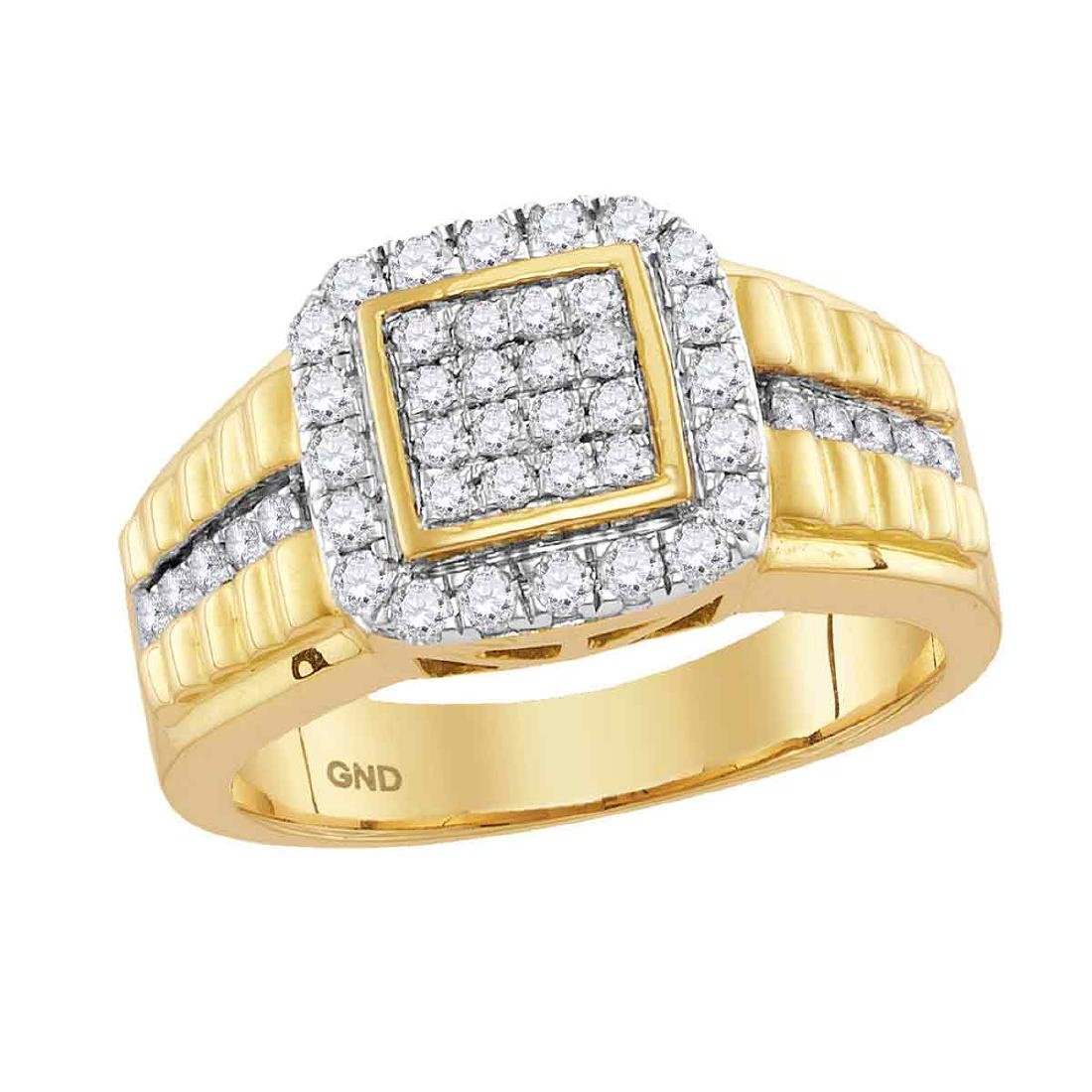 1 CTW Mens Diamond Square Cluster Ring 10KT Yellow Gold